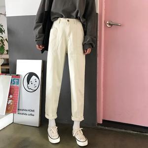 直筒<span class=H>牛仔裤</span>女秋季2018新款韩版显瘦哈伦高腰chic风裤子学生九分裤