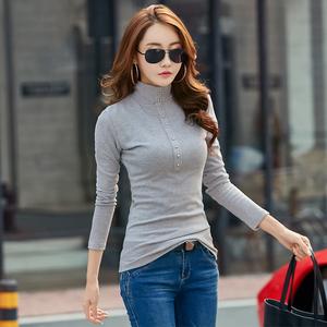 半高领打底衫女长袖秋冬加绒上衣大码修身百搭显瘦纯色加厚t恤棉