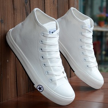 New fashionable black-and-white high-top canvas shoes for men skateboarding shoes for spring and autumn students British breathable sneakers for men