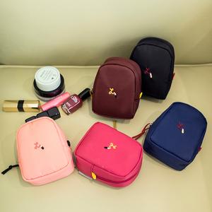 简约纯色刺绣<span class=H>化妆包</span>袋便携迷你随身防水收纳包口红气垫霜补妆小包