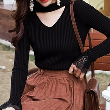 Chicken Heart Neck Sweater Woman V Autumn and Winter Pullover Short Style Thickened Korean Edition Early Spring Slimming Long Sleeve Knitted Shirt Base