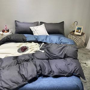 男女简约水洗棉四件套宿舍被子三件套学生格子被套床单人床上用品