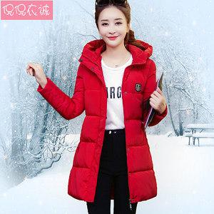 2018新款冬棉袄加厚棉衣外套羽绒<span class=H>棉服</span>女中长款韩版修身连帽面包服