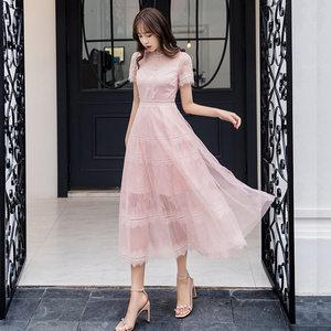 2019夏季胖mm大码女装产后哺乳期满月酒优雅网纱蕾丝拼接仙女长裙