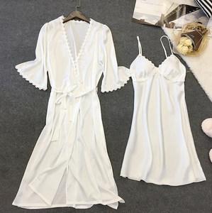 睡裙女夏季冰丝性感蕾丝薄款吊带中长款带胸垫两件套真丝绸睡衣