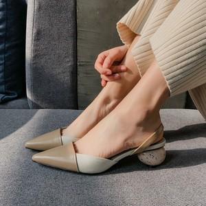 四季鞋2019春夏季新款欧美尖头里外全皮后空<span class=H>凉鞋</span>女低跟女鞋拼色