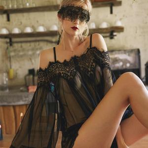 仙女裙黑睫毛蕾丝边<span class=H>内衣</span>网纱大码<span class=H>睡衣</span>性感睡裙
