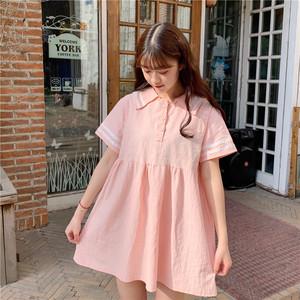 <span class=H>连衣裙</span>夏2019新款学生ins学院风娃娃领短袖宽松休闲短款裙子少女