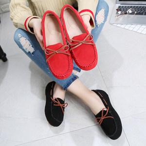 原宿<span class=H>豆豆鞋</span>女春秋单鞋真皮加绒棉鞋百搭社会平底鞋防滑孕妇妈妈鞋