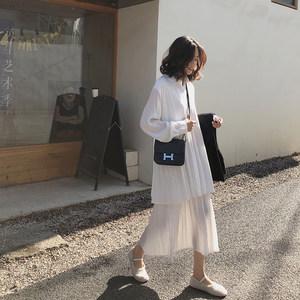 A7seven衬衫连衣裙女春装新款韩版中长款白色长袖宽松收腰百褶裙