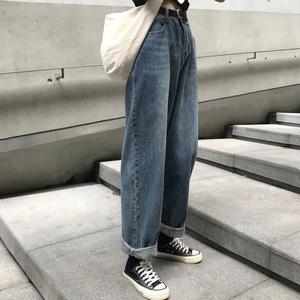 <span class=H>牛仔裤</span>女春秋2018新款韩版学生宽松复古高腰直筒阔腿九分裤长裤冬