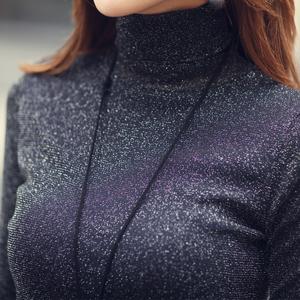 2017秋冬季新款亮丝高领打底衫女士韩版短款上衣加绒加厚长袖t恤