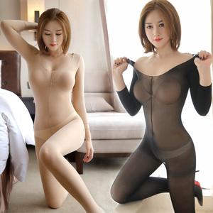 连体衣开档全身衣性感黑丝袜紧身连身衣打底内衣薄款男女情趣丝袜