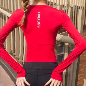 瑜伽长袖<span class=H>上衣</span>女紧身性感短款露肚脐速干运动跑步健身服T恤秋冬季