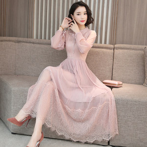 很仙的粉色蕾丝连衣裙女装2019春秋新款长袖气质显瘦雪纺过膝<span class=H>长裙</span>