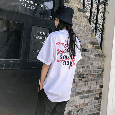 Anti social club ASSC Cherry Tee樱花多款全棉短袖T恤情侣潮