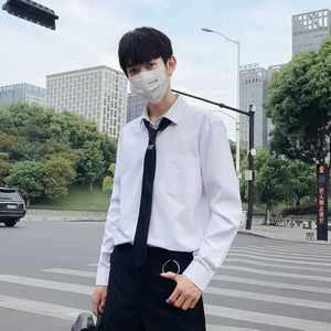 白<span class=H>衬衫</span>男领带款带领带的衬衣学院风bf韩版宽松学生长袖帅气日系潮