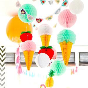 冰淇淋<span class=H>菠萝</span>蜂窝球拉花婚庆婚房装饰新房布置道具用品结婚生日派对
