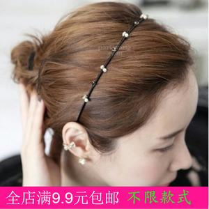 韩版布艺缠绕头箍发饰 珍珠水钻甜美细发箍发卡 压发头饰品包邮