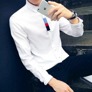 春季新款男生长袖<span class=H>衬衫</span>牛津纺修身大码衬衣青年时尚休闲寸衫衣服男