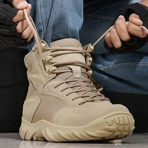 盾郎戶外低幫沙漠靴特種兵作戰靴<span class=H>軍靴</span>男夏季透氣戰術鞋耐磨飛行靴