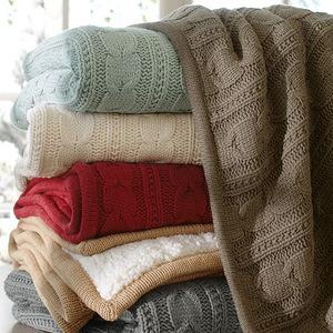 欧式全棉针织毛<span class=H>线毯</span>+羊羔绒复合毯冬季保暖加厚<span class=H>毛毯</span>盖毯毛<span class=H>绒毯</span>子