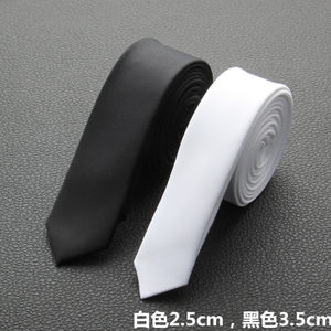 包邮3.5cm黑色白色超细超窄 男女 学生小<span class=H>领带</span> 时尚个性细窄<span class=H>领带</span>