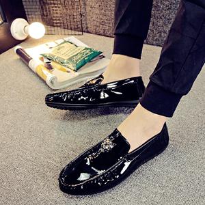 夏季新款亮皮豆豆男鞋英伦韩版潮流百搭漆<span class=H>皮鞋</span>男社会精神小伙鞋子