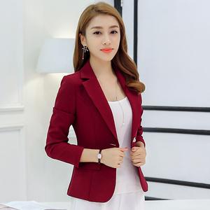 米朵姿2018年春秋女季新款小西装韩版西服修身纯色长袖显瘦女<span class=H>外套</span>