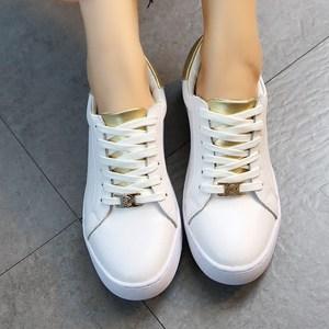 小白鞋女系带韩版学生百搭真皮2017春季新款平底休闲鞋运动鞋女鞋