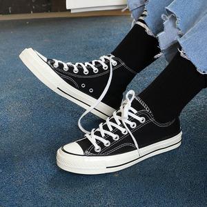 高帮鞋女板鞋平底原宿学生情侣鞋百搭学院潮鞋1970s复刻<span class=H>帆布鞋</span>女