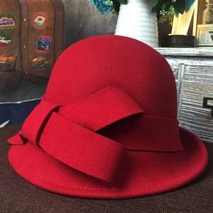羊毛呢渔夫<span class=H>帽子</span>女冬季韩版圆顶蝴蝶结大红色小礼帽女英伦卷边盆帽