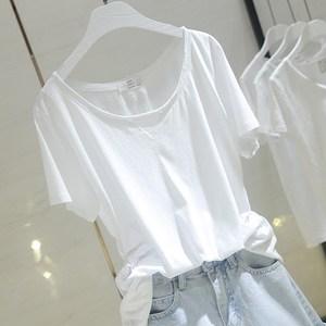 2018夏季新款韩版宽松纯白色短袖<span class=H>T恤</span>女毛边圆领棉质半袖上衣B100