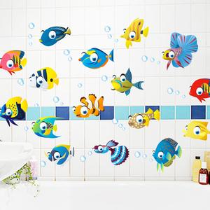 卫生间淋浴室墙壁瓷砖玻璃防水装饰可移除贴画儿童房<span class=H>墙贴</span>纸卡通鱼