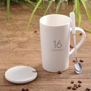 创意陶瓷<span class=H>杯子</span>大容量水杯马克杯简约情侣杯带盖勺咖啡杯牛奶杯定制