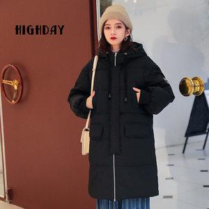 highday轩日18冬季保暖休闲外套女中长款简约学院风时尚<span class=H>羽绒服</span>新