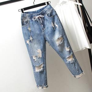 大码<span class=H>女装</span>牛仔裤胖妹妹宽松适合胯大粗腿的裤子潮流宽松显瘦哈伦裤