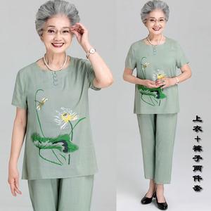 夏季短袖妈妈装套装休闲奶奶装运动女中老年名族风两件套夏装裤子