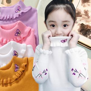 女童毛衣2018新款秋冬洋气儿<span class=H>童装</span>套头高领线衣女孩针织打底衫保暖