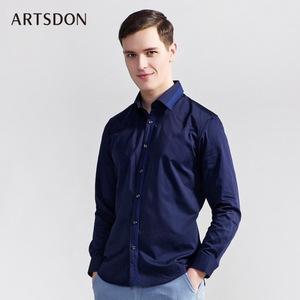 Artsdon/阿仕顿专柜同款<span class=H>时尚</span>休闲长袖衬衫春秋新款方领长衬衬衣男