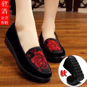 老北京布鞋女中老年人妈妈鞋防滑平底套脚单鞋2019新款奶奶鞋大码