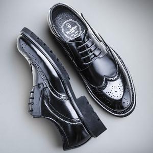 布莱希尔顿<span class=H>男鞋</span>真皮布洛克<span class=H>男鞋</span>休闲皮鞋男雕花<span class=H>鞋子</span>商务正装休闲鞋