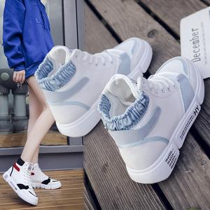 冬季休闲运动鞋<span class=H>女鞋</span>子2018新款韩版百搭高帮2019学生带绒高筒高腰