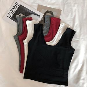 <span class=H>背心</span>女夏季弹力棉2019新款韩版修身百搭时尚两面穿U型上衣