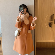 Autumn and winter 2019 orange-orange light camel wearing double-sided vertical collar and double-sided wool overcoat