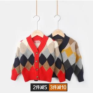 儿童毛衣男童针织<span class=H>开衫</span>外套v领秋冬款加厚宽松外搭洋气宝宝粗毛线