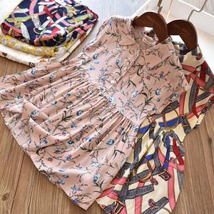 复古范 女童人造棉短袖连衣裙 儿童翻领棉绸<span class=H>裙子</span>沙滩裙洋气