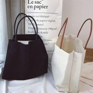 韩国简约纯色帆布袋女文艺单肩帆布包环保袋手提帆布袋大购物袋