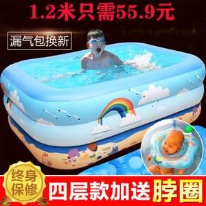 中型儿童充气<span class=H>游泳池</span>大码全身洗澡池吹气庭院加大中大童户外小孩子