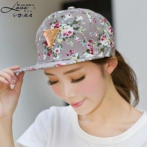 版夏天女潮小碎花平沿  遮阳帽子 标嘻哈街舞棒球帽